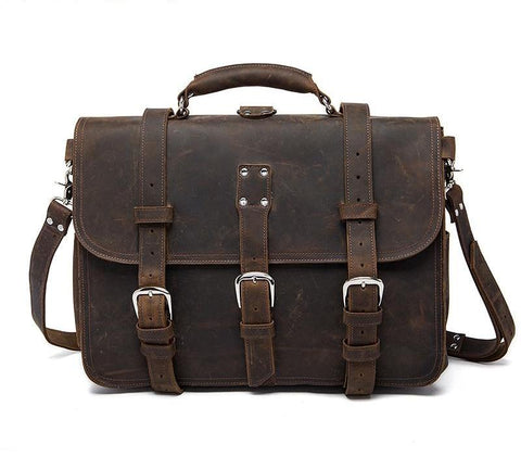 Vintage Briefcase Rustic Gray Distressed Leather Bag Laptop Messenger Crossbody Bags