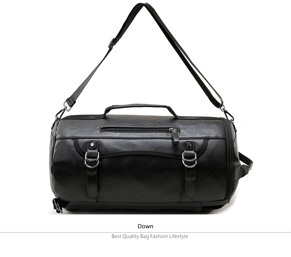 Large Round Black Leather Travel Bag Rolling Backpack Carry On Satchel Sac à dos Mochila Travel Bags - Travell Well