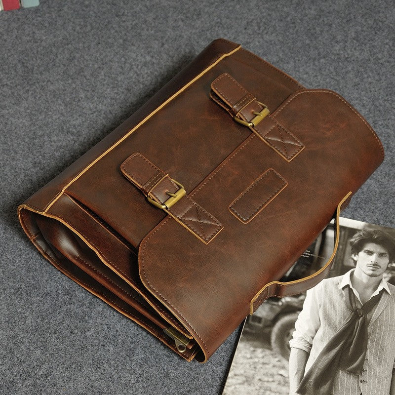 Quality Authentic Vintage Briefcase Rustic Leather Hasp Top Handle Messenger Bag - Travell Well