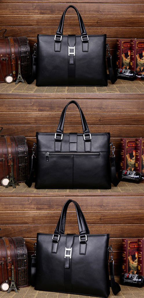 Designer Briefcase Black Leather Messenger Bag Men Crossbody Travel Shoulder Briefcases Men's Bags - Travell Well