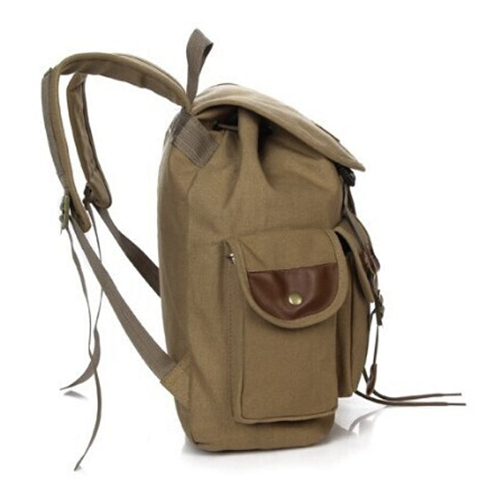 Army Green Canvas Backpack Travel Rucksack Military Satchel Vintage School Bag Bookbag Sac à dos Mochila Large Capacity Military Green Khaki Black Canvas Backpacks Carry-On Travel Bag - Travell Well