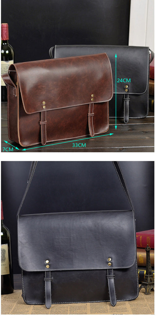 Vintage Briefcase Black Leather Original Retro Messenger Bag Crossbody Men's Business Travel Laptop Briefcases Shoulder Bags - Travell Well