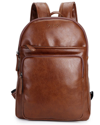Leather Backpacks Travel Bag Black Brown PU Leather Mens Shoulder Vintage Leather Backpack Sac à dos