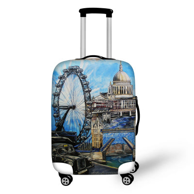 Travel luggage trolley bag leather suitcase map print wheels 16 20 designer case cover scenery elastic travel accessories for s xl 18 to 30 inch suitcase luggage protection travel design suitcase covers gumiabroncs Choice Image