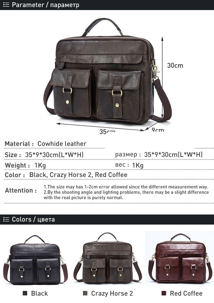 Genuine Leather Vintage Business Briefcase Bag Top Handle Laptop Crossbody Handbags Shoulder Bags - Travell Well