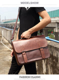 Vintage Briefcase Leather Top Handle Messenger Bag Crossbody Retro Laptop Men Travel Briefcases Bags - Travell Well