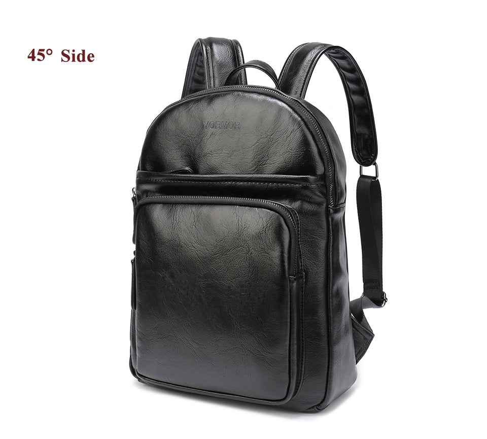 Leather Backpacks Travel Bag Black Brown PU Leather Mens Shoulder Vintage Leather Backpack Sac à dos - Travell Well