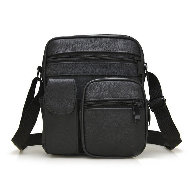 Black Leather Basic Messenger Bag Mens Small Shoulder Top Handle Business  Mini Briefcase Man Bags 2286ec59515e5