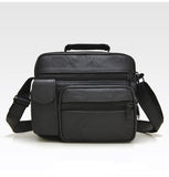 Black Leather Basic Messenger Bag Mens Small Shoulder Top Handle Business Mini Briefcase Man Bags - Travell Well