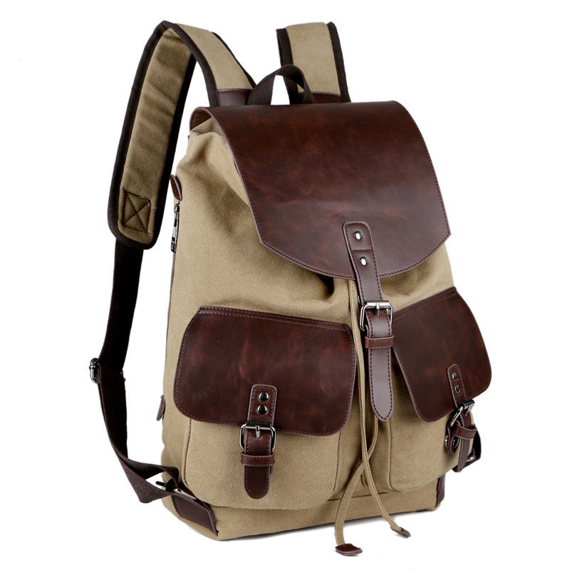 Quality Vintage Army Green Backpack Canvas Microfiber Military Leather Men Women Rucksack Carry-On - Travell Well