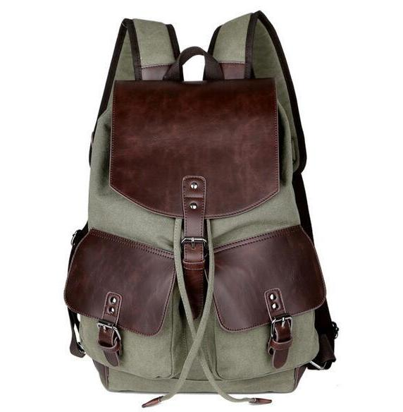 Quality Vintage Backpack Canvas Military Leather Mens Womens Backpacks Coffee Brown Rucksack Satchel - Travell Well