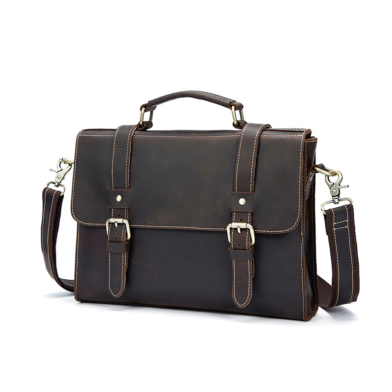 Designer Laptop Messenger Bags Crazy Horse Leather Shoulder Bags Vintage Briefcase Laptop Bag - Travell Well