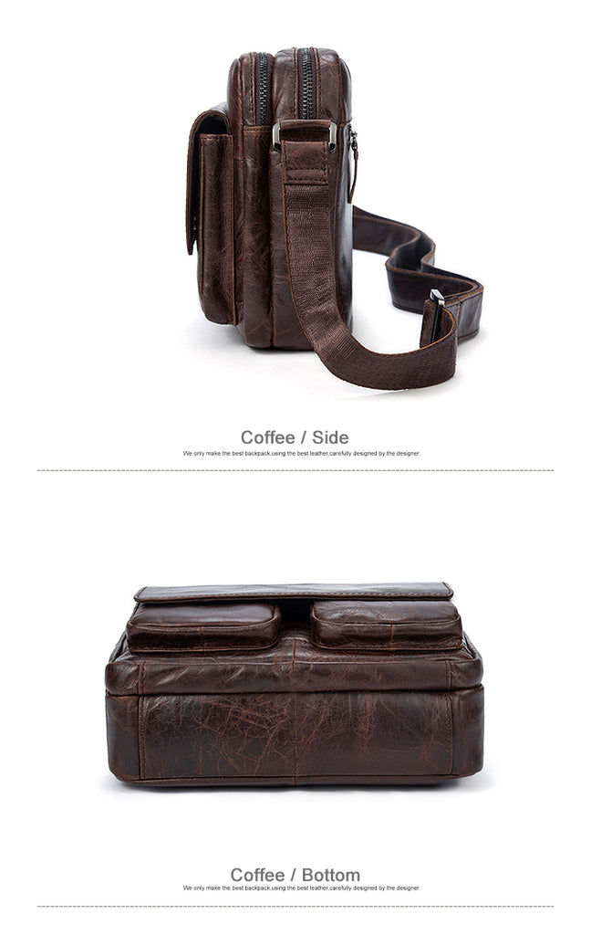 Midsize Messenger Bag Genuine Leather Shoulder Bags Small Crossbody Men Women Leather Bags - Travell Well
