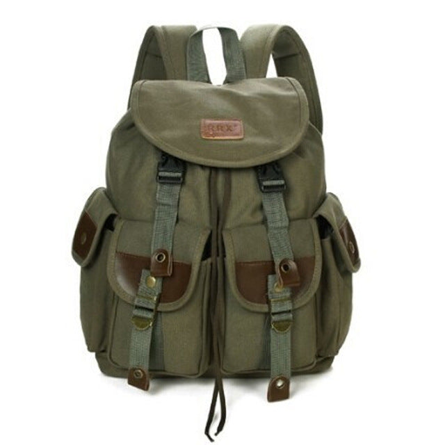 ace9cce49c Army Green Canvas Backpack Travel Rucksack Military Vintage School Bag Sac  à dos Large Backpacks