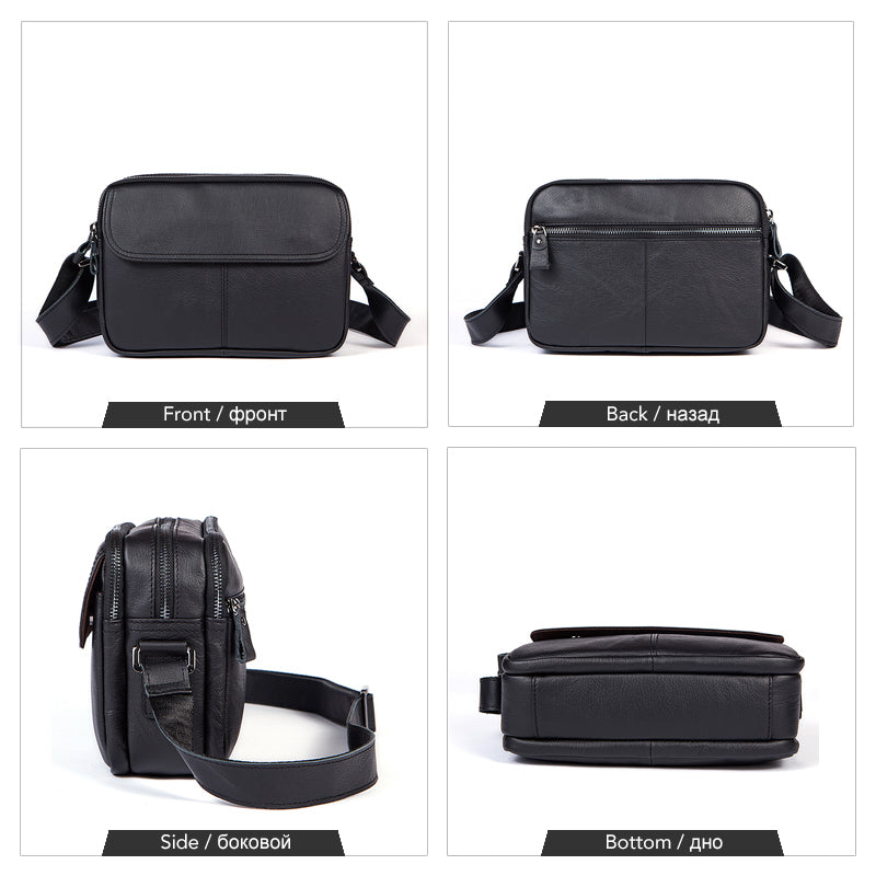 Crossbody Bag Black Messenger Bags Small Flap Midsize Messenger Mens Shoulder Bags Genuine Leather - Travell Well