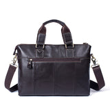 Mens Shoulder Bag Laptop Messenger Briefcase Coffee Brown Leather Handbag Tote Crossbody Leather Bag - Travell Well