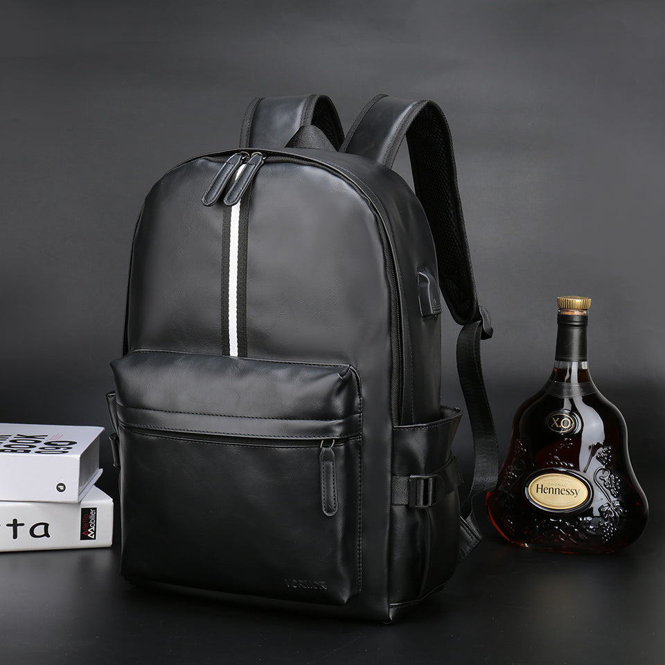 Leather Backpack Laptop School Bag USB Port Water Repellent Backpack Sac à dos Mochila Travel Bags - Travell Well