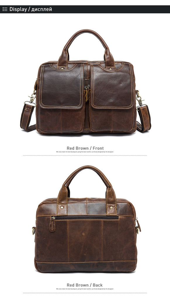 "Designer Genuine Leather Briefcase Laptop Bag 14 "" Shoulder Crossbody Messenger Bags - Travell Well"