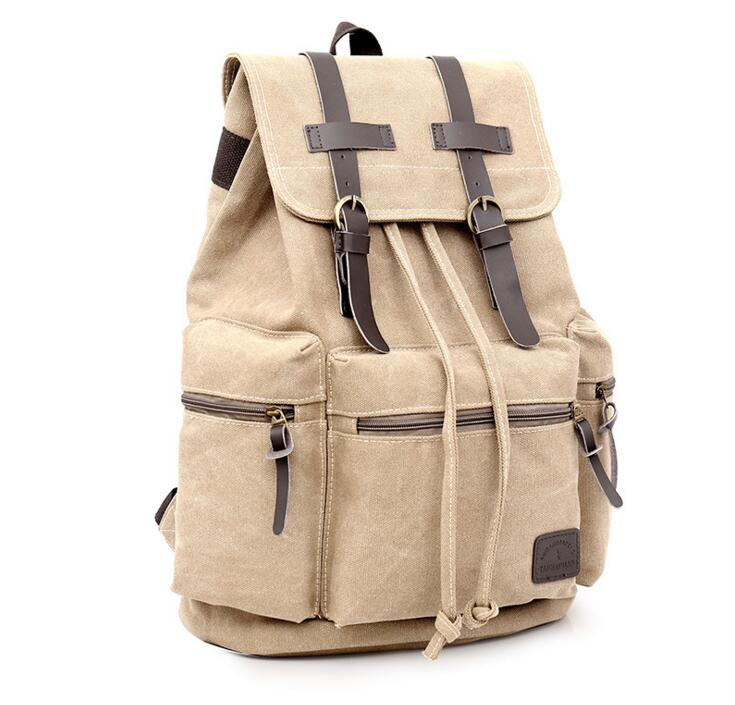 Canvas Vintage Backpack Brown Rucksack Sac à dos Mochila School Bag Laptop Carry-On Travel Bags - Travell Well