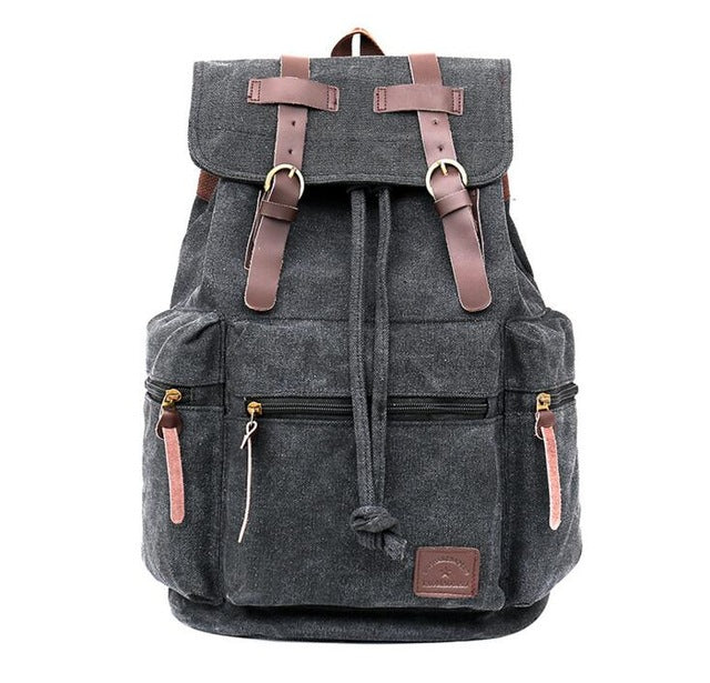 Vintage Canvas Backpack Rustic Rucksack Charcoal Grey Sac à dos Mochila Gray Distressed Black School Bag Laptop Carry On Travel Bag - Travell Well