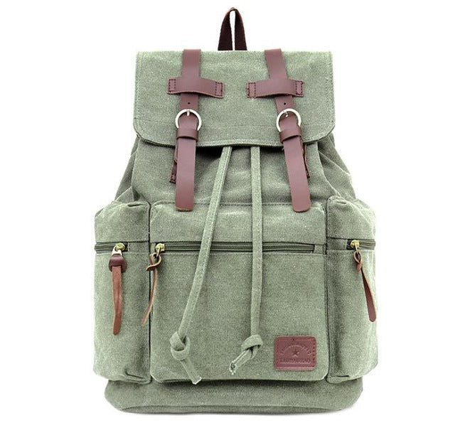 Canvas Backpack Vintage Khaki Rucksack Sac à dos Mochila Tan School Bag Laptop Carry-On Travel Pack Bag - Travell Well