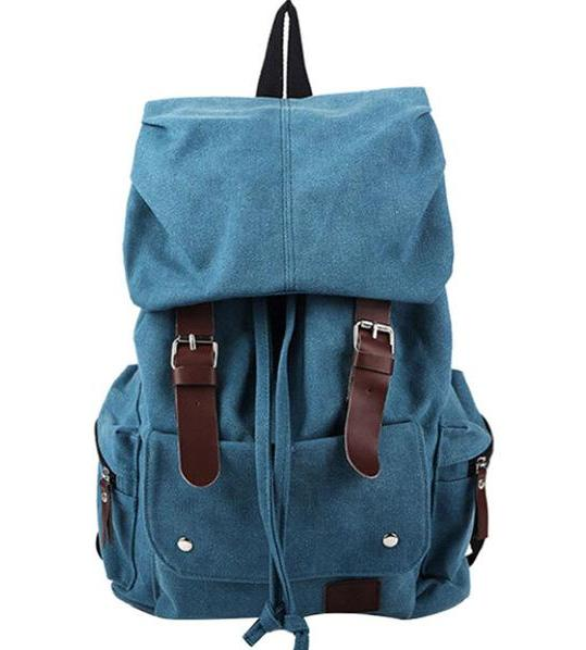 756f8070da8ac Stylish Canvas Backpack Vintage Rustic Rucksack Sac à dos Mochila School  Bag Laptop Carry On Satchel Packs Blue Brown Travel Bags