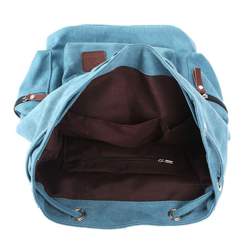 Stylish Canvas Backpack Vintage Rustic Rucksack Sac à dos Mochila School Bag Laptop Carry On Satchel Packs Blue Brown Travel Bags - Travell Well