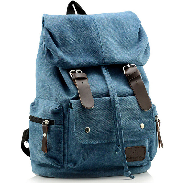 Top Canvas Backpack Army Green Vintage Military Rucksack Sac à dos Women Men Mochila School Bag Blue Brown Black Travel Bags - Travell Well
