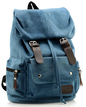 Top Canvas Backpack Vintage Rucksack Sac à dos Women Men Mochila School Bag  Laptop Blue Black ... cebcc06572d5e