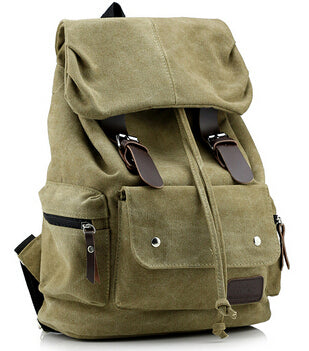 Top Canvas Backpack Vintage Rucksack Sac à dos Women Men Mochila School Bag Laptop Black Brown Army Green Blue Travel Bags - Travell Well
