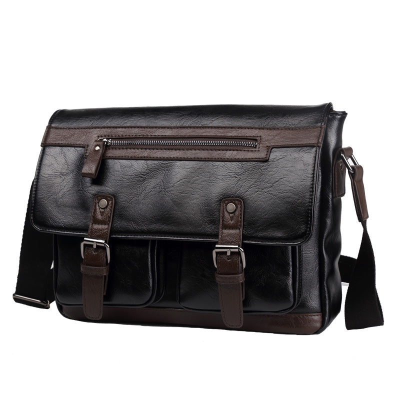 Designer Vintage Briefcase Dual Black Brown Leather Messenger Bag Mens Crossbody Laptop Bags - Travell Well