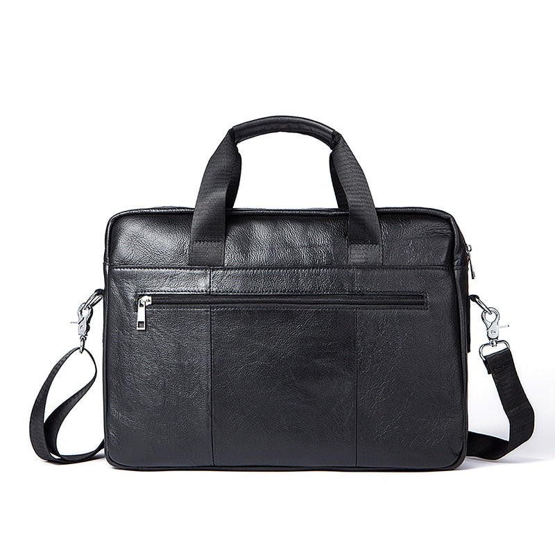 Leather Laptop Bag Genuine Men Bags Briefcases Handbag Totes Crossbody Messenger Bags Shoulder - Travell Well