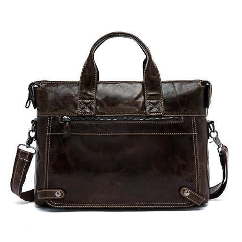 Genuine Leather Briefcase Handbag Messenger Bag Mens Leather Laptop Business Briefcases - Travell Well