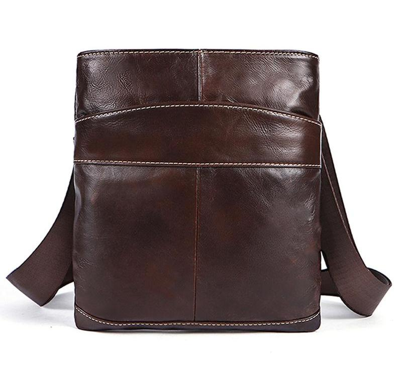 Brown Leather Crossbody Bag Small Flap Casual Zipper Messenger Genuine Leather Handbag Shoulder Bags - Travell Well