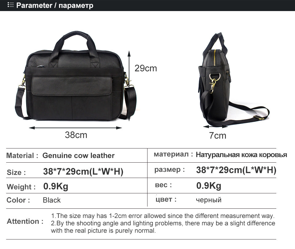 Messenger Bags Genuine Leather Handbags Totes Casual Crossbody Bags Leather Shoulder Laptop Bag - Travell Well