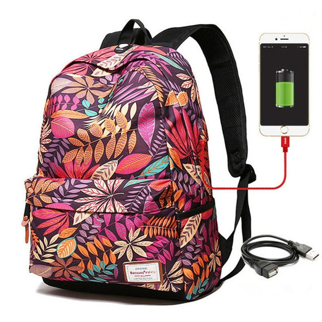 "Designer Backpack External USB Charge Backpacks 15 "" Laptop Travel Waterproof Tech Backpack - Travell Well"