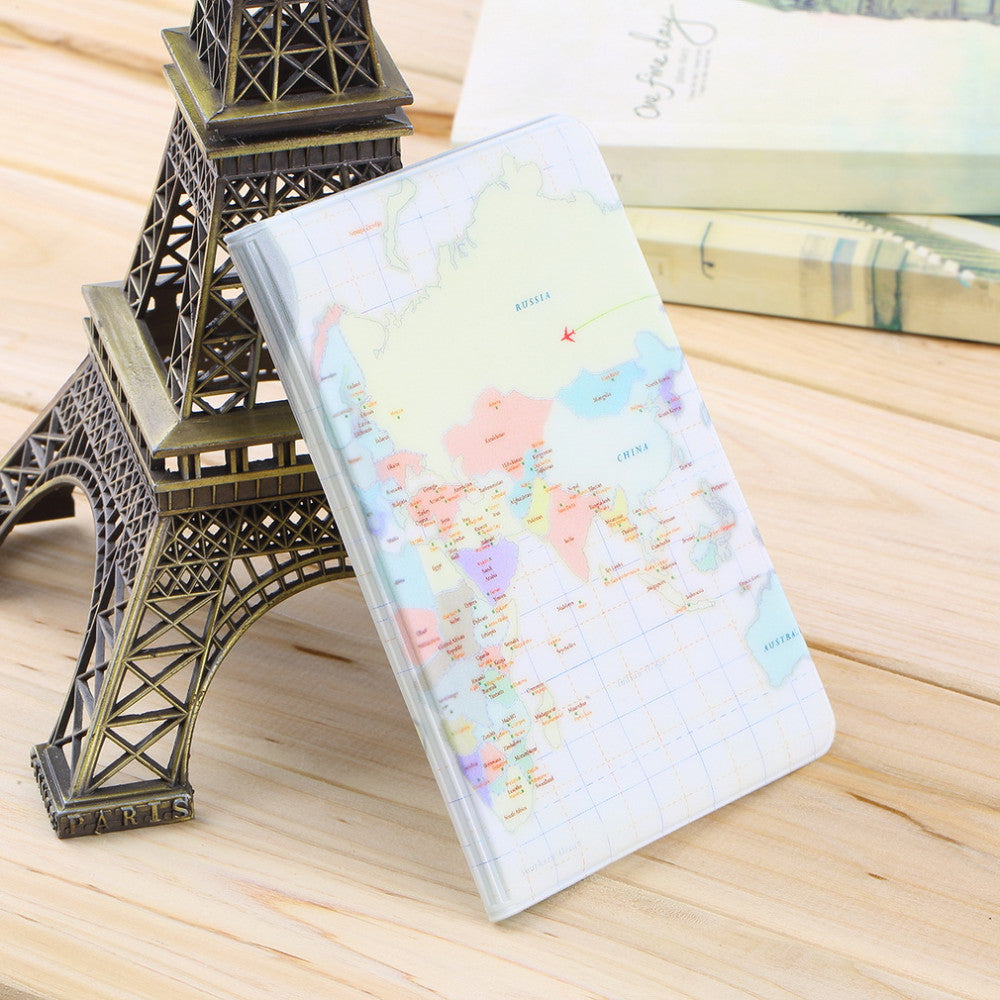 Pink Passport Holder Case Protective Cover Kids Wallets Protective Covers Girl Pink World Map - Travell Well