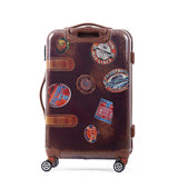 Vintage Trolley Trunk Case Cabin Luggage Rolling Suitcase 20 24