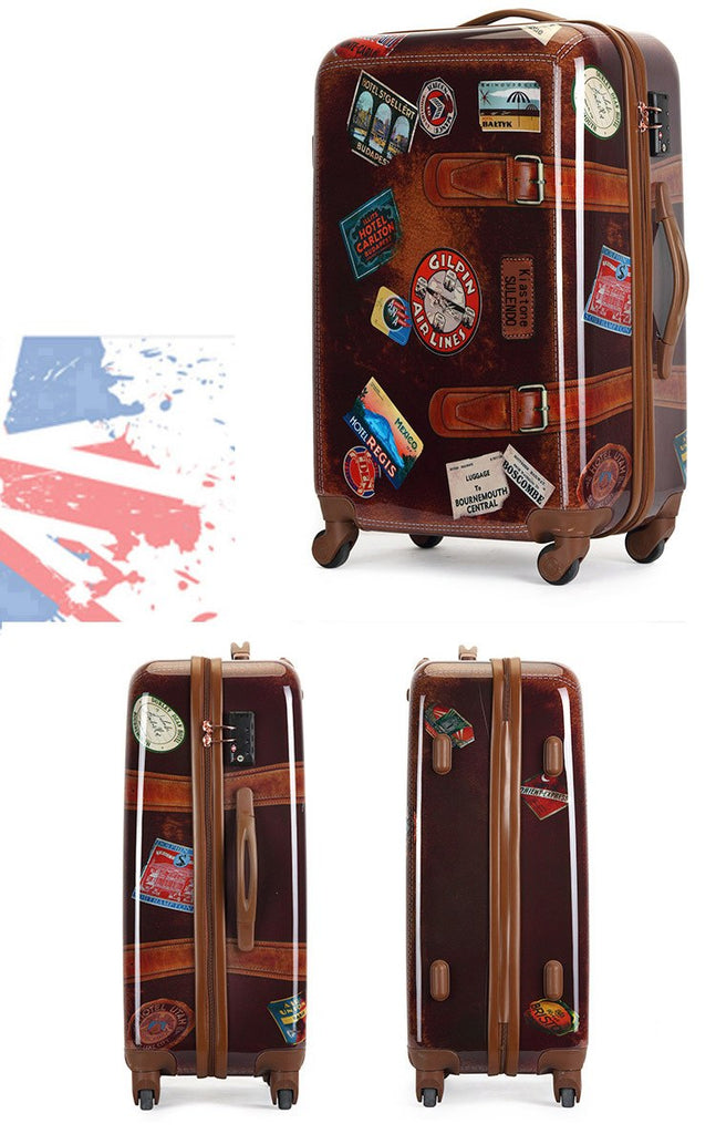 "Vintage Trolley Trunk Case Cabin Luggage Rolling Suitcase 20 24"" Retro Travel Suitcases - Travell Well"