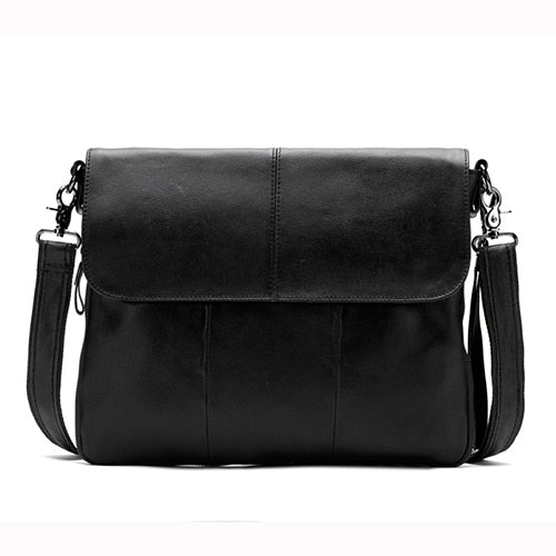 Messenger Bag Genuine Leather Bag Satchels Solid Crossbody Bags Casual Shoulder Bags Leather Clutch - Travell Well