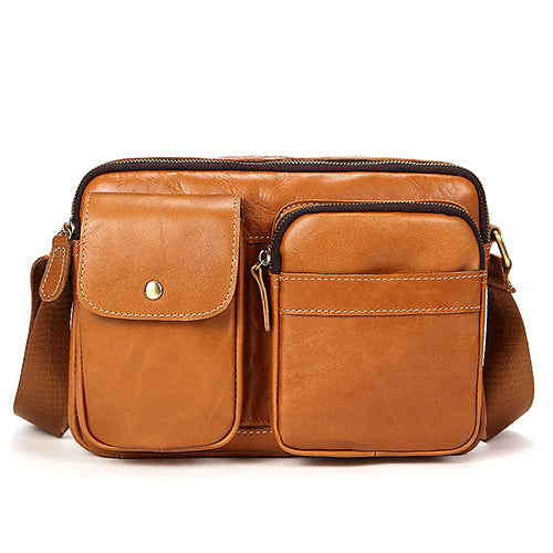 d3239401dbe4 Briefcase Messenger Camel Brown Crossbody Bag Genuine Leather Men Women Bag  Shoulder Bags Zipper Mid Size Messenger Bag Leather Shoulder Satchels  Travell ...