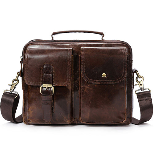 Men's Shoulder Bag Genuine Leather Crossbody Bags Handle-top Messenger Bag Men Leather Tote Bags - Travell Well