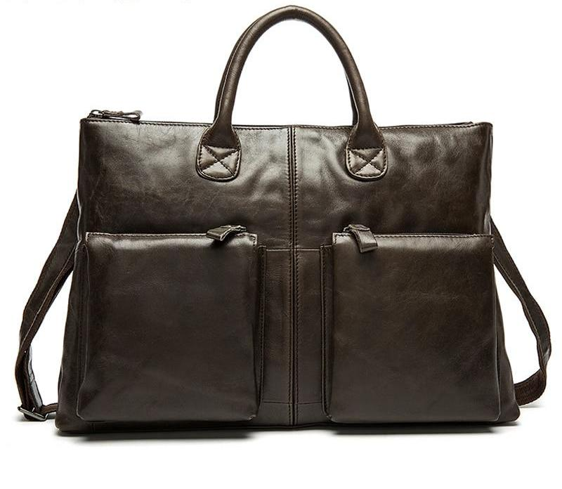 Briefcase Leather Handbag Business Messenger Laptop Men's Briefcases - Travell Well