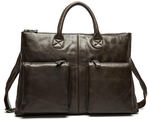 Designer Laptop Messenger Bags Crazy Horse Leather Shoulder Bags Vintage Briefcase Laptop Bag