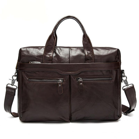 Vintage Black Leather Briefcase Messenger Top Handle Men's Business Bags Laptop Briefcases