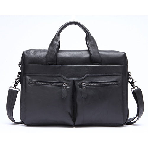 Briefcase Genuine Leather Laptop Shoulder Bags Men's Documents Business Briefcases Bags - Travell Well