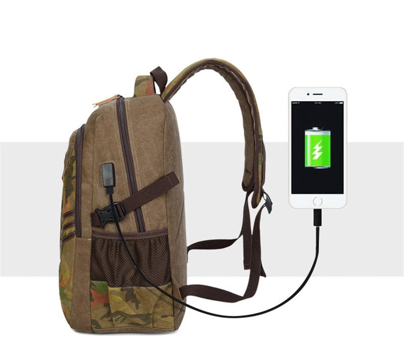USB Canvas Backpacks Large School Bag Travel Laptop Backbag Vintage Camouflage Backpacks Mochila Rucksack - Travell Well