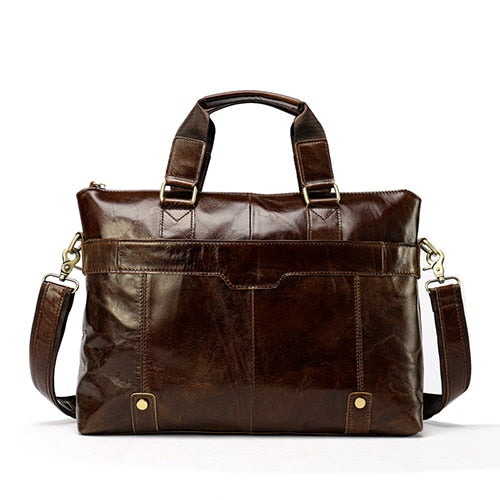 "Vintage Classic Leather Laptop Bag 14 "" inch Genuine Leather Messenger Shoulder Crossbody Bags - Travell Well"