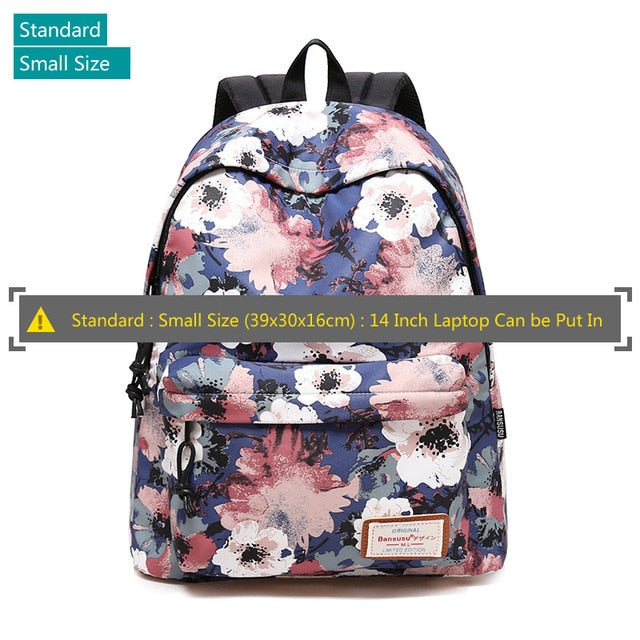 "Designer Backpack Large 13 to 15 "" Inch Laptop School Bags USB Charger Girls Womens Tech Backpacks - Travell Well"