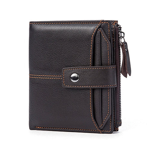 Mens Brown Leather Wallets Short Credit Card Male Coin Purse - Travell Well